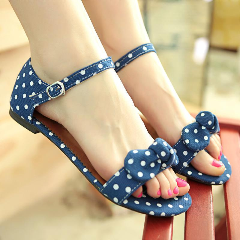 Big Size 34-43 Sweet Polka Dot Bow shoes Transpierce Gentlewomen Brief Hasp flat-bottomed Female Sandals 2014 Summer New flat(China (Mainland))