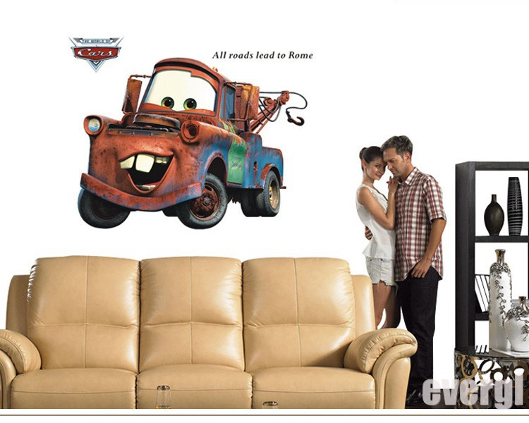 New CARS 2 MOVIE WALL DECALS Lightning McQueen Mater Stickers Bedroom Art Decor(China (Mainland))
