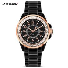 SINOBI Fashion Women Diamonds Wrist Watches Imitation Ceramics Watchband Top Luxury Brand Dress Ladies Geneva Quartz Clock 2016(China (Mainland))