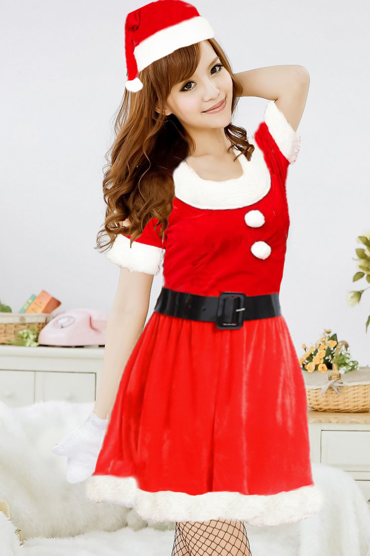 Free Shipping Hot Sale New Fashion Woman Sexy Lingerie Halloween Santa Suit Red Christmas Clothes Take a Christmas Party #C006(China (Mainland))