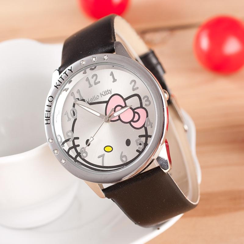 Cute Fashion Cartoon Hello Kitty 6 Diamond Pu Leather Strap Wristwatches Watch for Women Girls Female Children Pink White OP001(China (Mainland))
