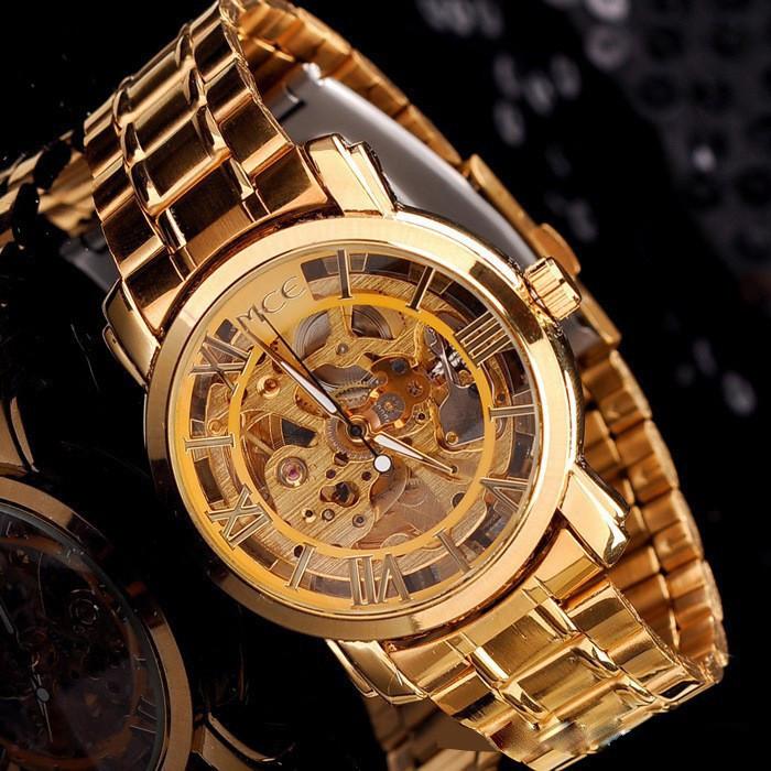 Новый 2016 Горячая Полые Золотые Часы self-ветер Автоматические Часы Известный MCE Relogios Стальной браслет Часы Класса Люкс Мужчины наручные часы