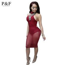 Fashion 2016 Sexy red mesh dress bandage Dresses Sexy Club Dress backless bodycon Night Club Wear Party Dress Vestido De Festa(China (Mainland))