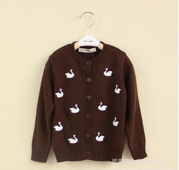 New baby boy sweater jacket brown long sleeve embroidery swan woolen coat kids boys jacket children woollen coats 5pcs/lot <br><br>Aliexpress