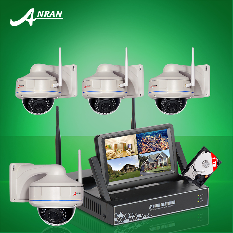 2016 New 7 Inch Screen Video Surveillance Kit 4CH Wireless NVR Fixed Dome 720P HD Security IP Camera Wifi CCTV System 1TB HDD(China (Mainland))