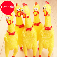 17cm Shrilling Rubber Chicken Jokes Toy Dog Pet Screaming Chicken for Children Party Gadgets Gifts Sound Squeeze Screaming Toys(China (Mainland))