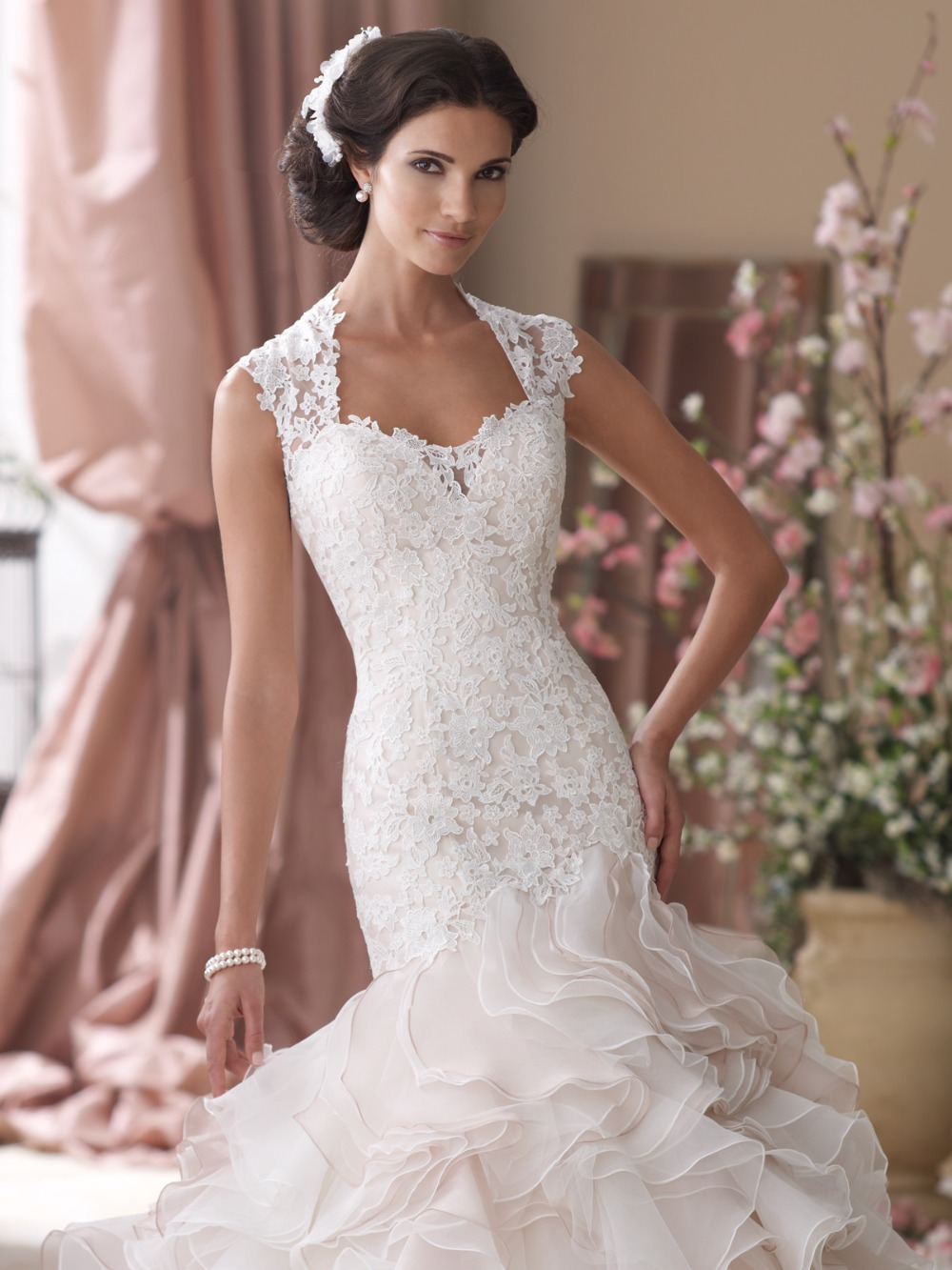 Luxury cap sleeves see through wedding dresses ruffled for Mermaid wedding dress with ruffles