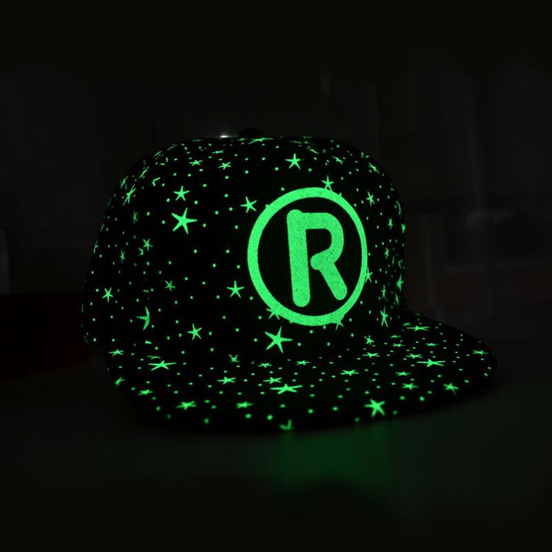 2015 New Fashion Running Caps Men Women Luminous caps Hot sell Personality Fluorescence Hip-hop hat Glow Star In The Dark Night(China (Mainland))