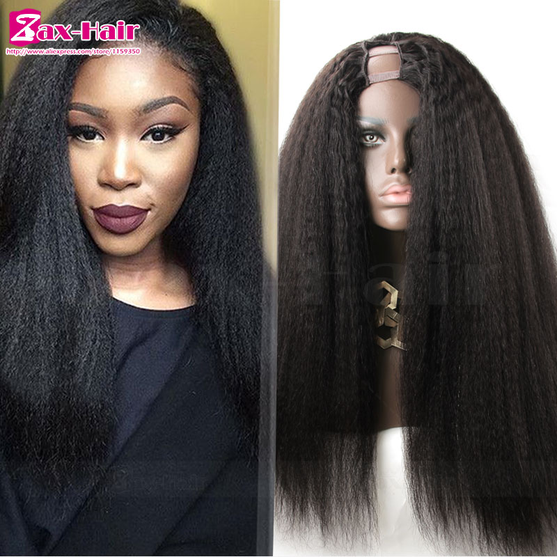 Фотография U part wigs 100% human hair 130% density kinky straight u part wig human hair for black women unprocessed virgin hair fashion