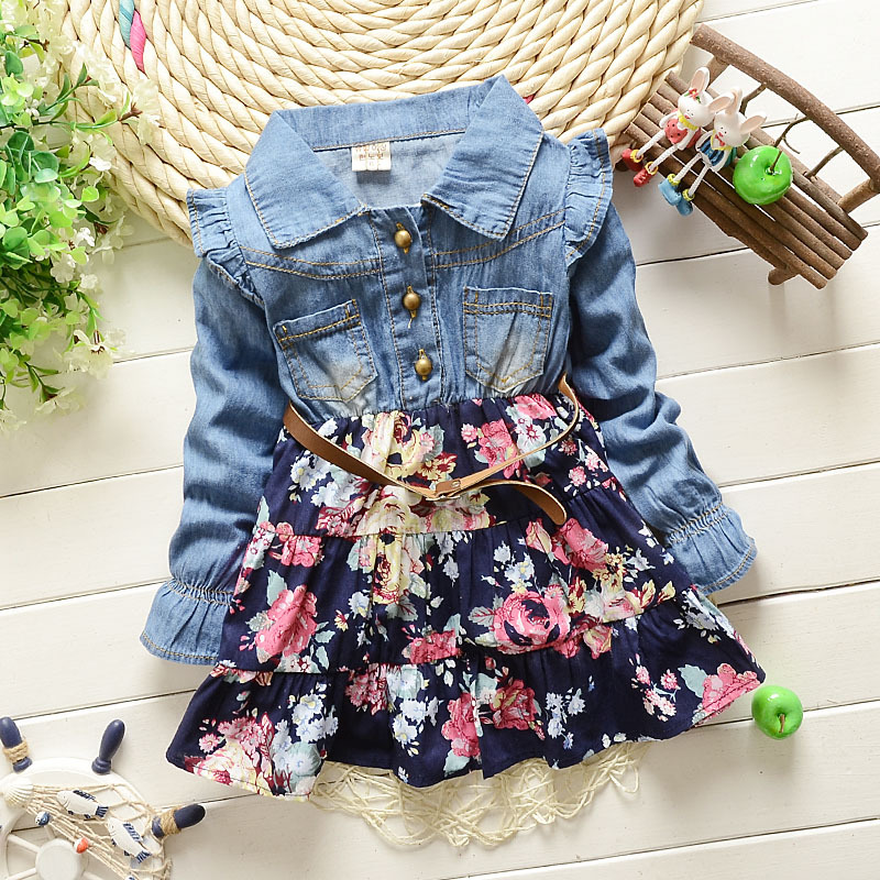 Baby Girls Dress 2015 Children Kids Clothing Denim Jeans Long Sleeve Baby Girls Princess Flora Dress 2 color 1-5 years(China (Mainland))