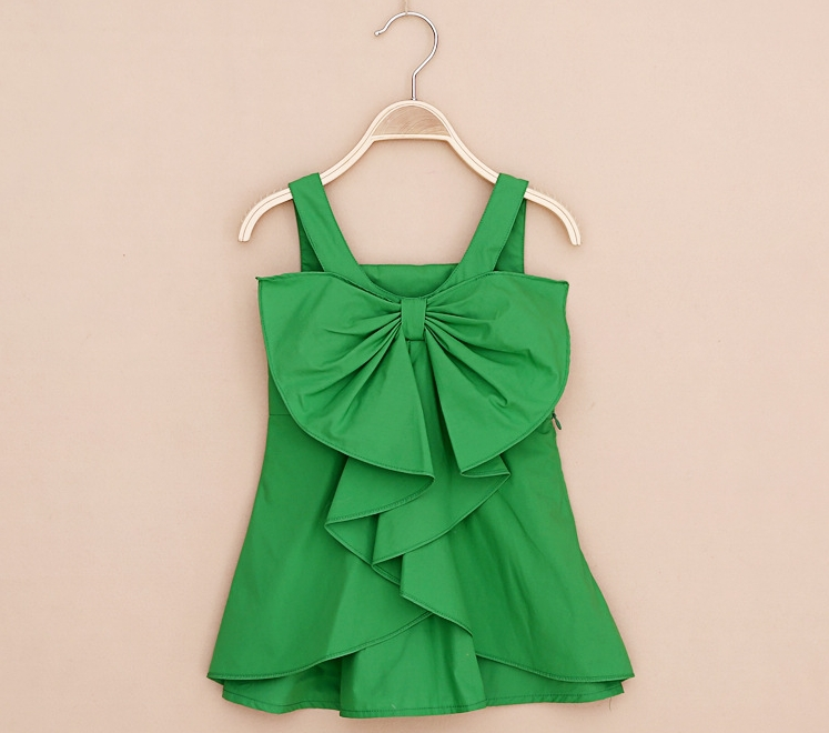 2015 summe cotton 2-9y baby dresses children girls suspenders dresses baby beach dress with big bow 4colors girl dress(China (Mainland))
