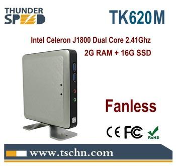 Fanless Micro Computer Thin Client TK620M Intel J1800 Dual Core 2.41Ghz 2G Ram 16G SSD Windows/Linux OS