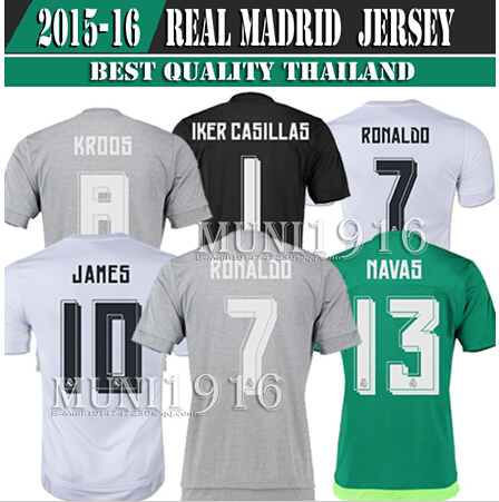 Hot sell 15/16 Real Madrid Home away top best quality fans version soccer jersey, 2015 2016 real madrid soccer football jerseys(China (Mainland))