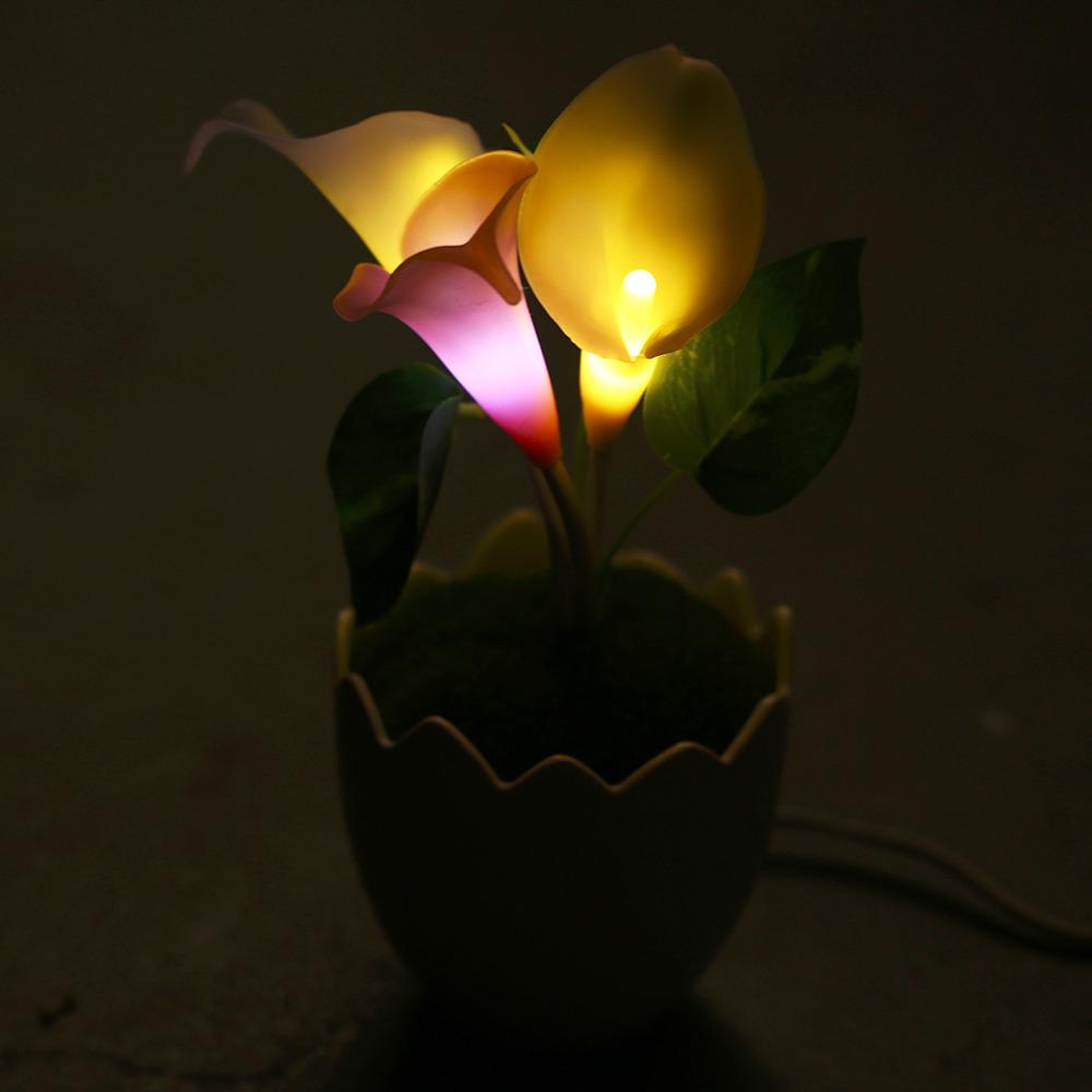 2016 New Creative Motion Calla Lily Flower Light Desk Lamp Home Decor Idea Gift Novelty Decoeration(China (Mainland))