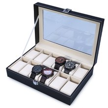 2016 New Arrival PU Leather 12 Slots Wrist Watch Display Box Storage Holder Organizer Watch Case Jewelry Dispay Watch Box(China (Mainland))