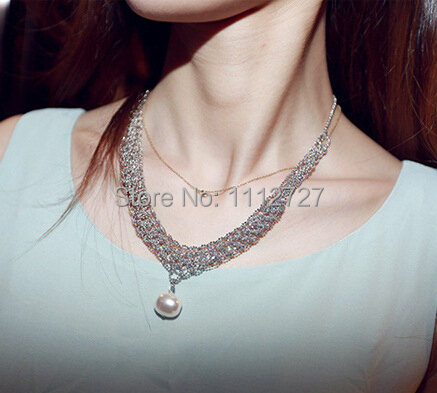 Super Beauty Pearl Drop Silver Color Necklace Short Temperament Sweater Chain Female Chain Jewelry Accessories Wholesale Price(China (Mainland))