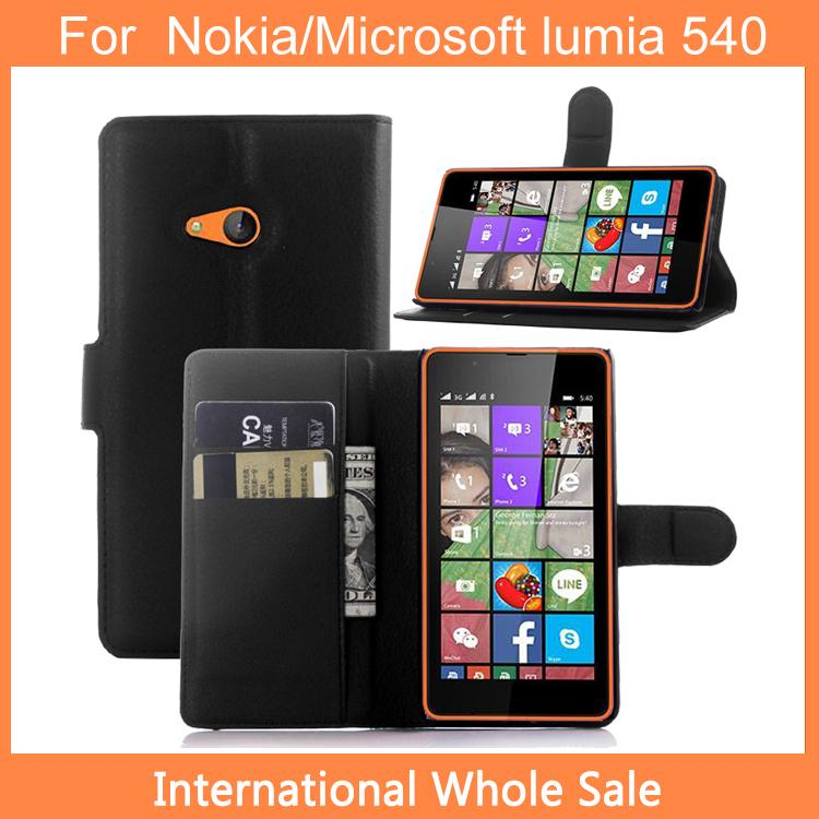 New arrival For Nokia/Microsoft lumia 540 Case,Flip leather(PU) Wallet Back Cover Case For lumia 540 Free shipping+Gift(China (Mainland))