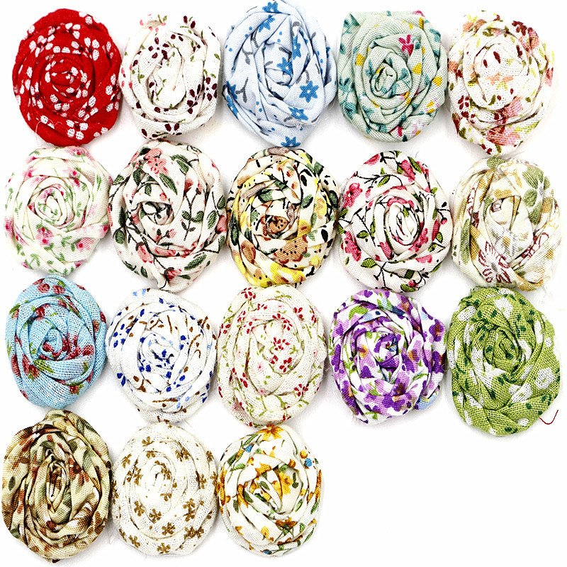 37colors Mini Rolled Roses Fabric Flowers Hairclip Bride Wedding Applique Baby Girl Headbands Hair Accessories(China (Mainland))