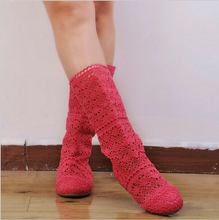 Hot 2016 Summer Women Hollow Boots knitted Cut outs high boots Fashion Womans Cool botas Mesh Breathable shoes Sex Single Shoes