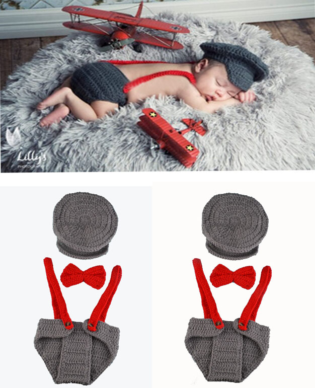 Compre Hot Crochet Pilot Infant Boys Props De Foto De Punto Aviador ...