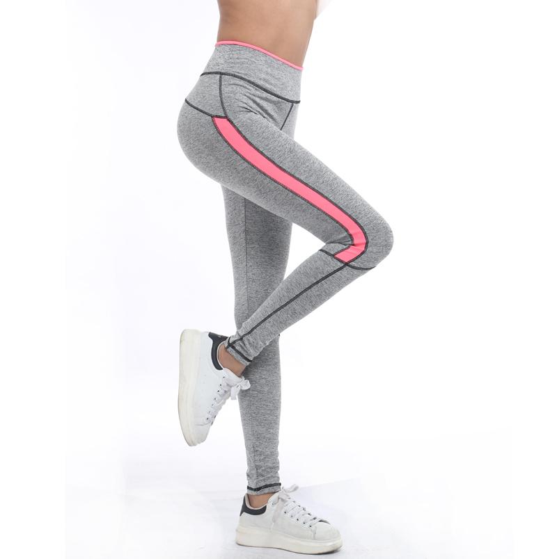 2016 Women Lady running sport pant Fitness Legging light grey pink spring gym activewear legging 1208 American Original Order(China (Mainland))