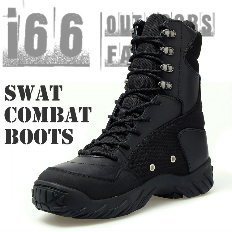 SWAT Army Military Desert Combat Tactical Boots Safety Genuine Leather Mountain boots U.S. SIZE:7~11.5(CB-12005) Black - i66 Outdoors & Fashion Co,.Ltd store