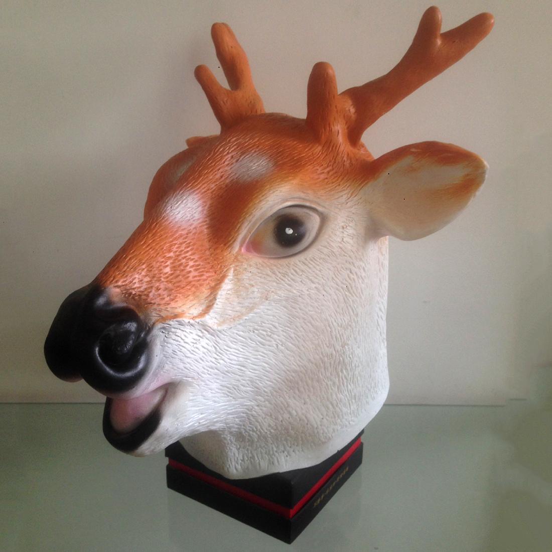 Latex Giraffe Full Head Mask Cospaly Masquerade Dress Up Deer Carnival Halloween - Brown + White(China (Mainland))