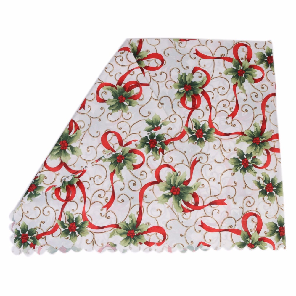 BitFly Tablecloth Christmas Ribbons Holly Leaves Printed Fabric Tablecloth Home Decoration Party Wedding Table Cloth 150*180 cm(China (Mainland))