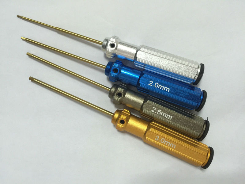 4pcs/set Color Titanium Alloy Steel Allen Driver 1.5 2.0 2.5 3.0 Hexagonal Screwdriver For Toys Helicopter Aircraft Repair Tool(China (Mainland))
