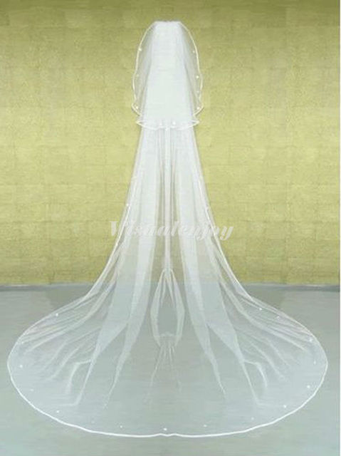 New 2T Long White Pearl Charming Cathedral Wedding Bridal Veil