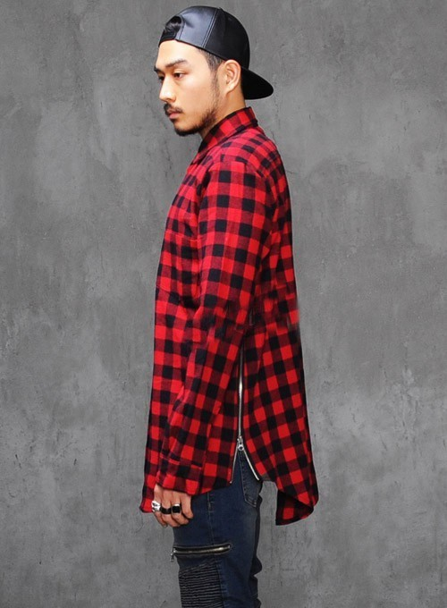 Hip hop style mens red Tartan plaid shirts Long sleeve side gold zipper man extended casual bule Lattice skateboard shirt  XXL