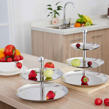 Stainless Steel Fruit Plates Stand Pastry Tray Candy Dishes Cake Desserts 2 Tier 3 Layer New Year Party Birthday Hone Decoration(China (Mainland))