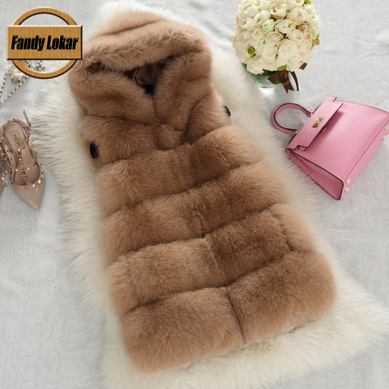 Real Fox Fur Vest Women Winter Slims Medium Long Genuine Natural Vests Female Coat Jacket 2015 Fashion - Fandy Lokar store