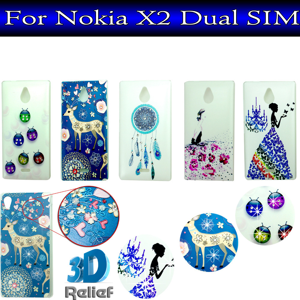 New ! 10 Pattern Fancy Rhinestone wedding dress 3D Relief back cover phone case for Nokia X2 Dual SIM(China (Mainland))