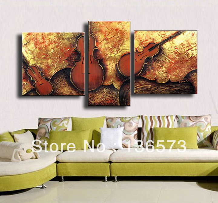 handmade 3 piece art sets abstract fiddle picture modern. Black Bedroom Furniture Sets. Home Design Ideas