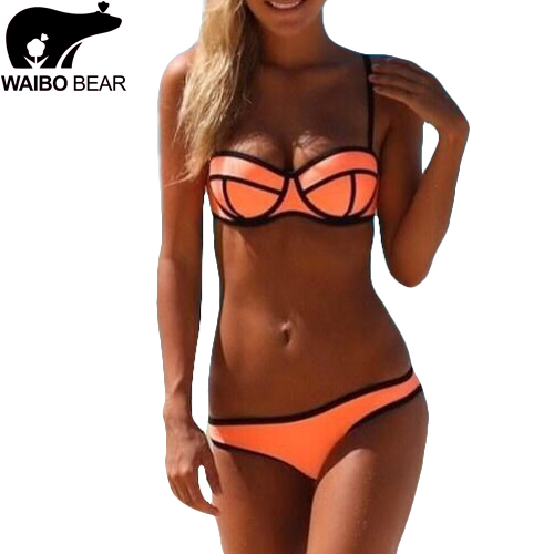 Fashion Triangl Swimwear Bikini Neoprene Summer Style Sexy Push Up Bikini Female Swimsuit Low Waist Women Bathing Suits Beach(China (Mainland))
