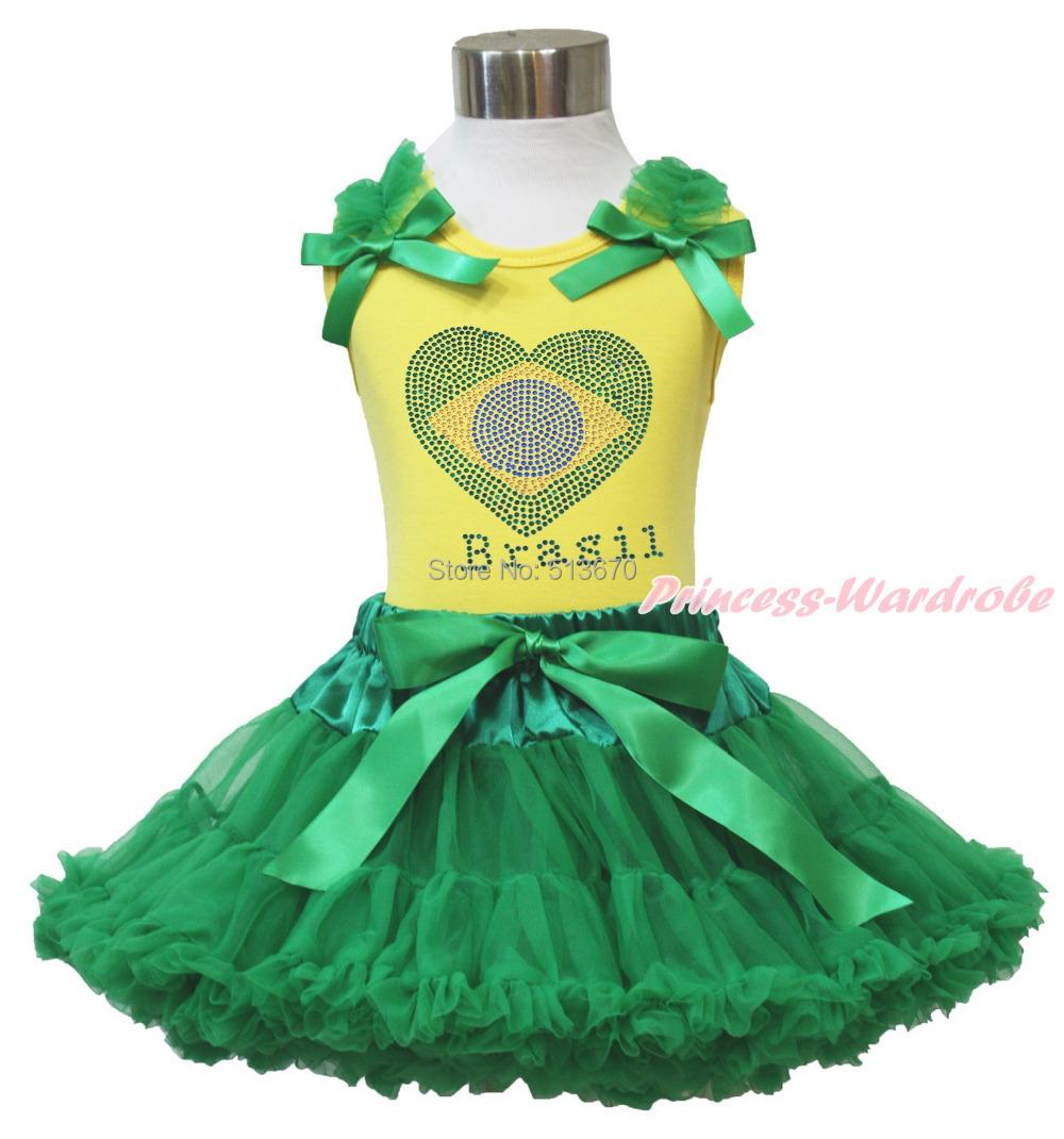 World Cup Rhinestone Brazil Flag Heart Yellow Top Girl Kelly Green Skirt 1-8Year MG1310(Hong Kong)