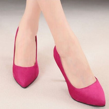 Lady's catchpenny sexy fashion 2.4″ big size high heeled pointed toe Flock shoes in spring autumn summer in 6 colors(4 to 12)