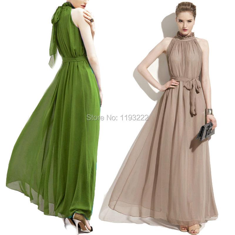 Plus Size Women Girl Vintage Ruffled High Neck Chiffon Sleeveless Long Maxi Big Hem Dress Ball Gown Party Wedding Bridal Dress(China (Mainland))