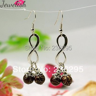 Fashion Drawbench Acrylic Earrings, with Tibetan Style Bead Caps, Alloy Infinity Pendants and Brass Earring Hooks, DarkRed(China (Mainland))