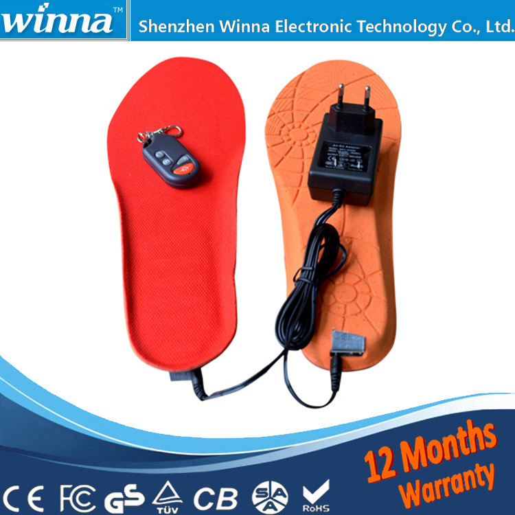 Electric Heated Insole Winter Shoes Boots Pad With Remote Control RED BLACK Foam Material EUR 35-40#(China (Mainland))