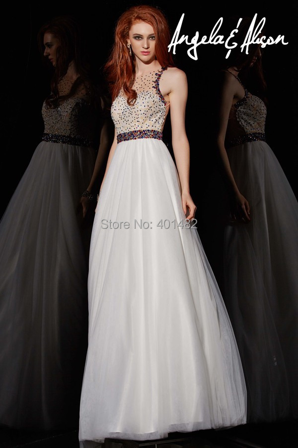Stunning Ball Gown illusion O Neckline Beaded Waist Floor Length Tulle Prom Dresses - Elaine Fashion --- 100% Satisfaction store