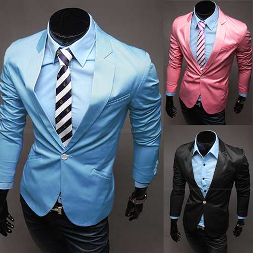 Candy Color Casual Slim Stylish fit One Button Suit men Blazer Coat Jackets men garment(China (Mainland))