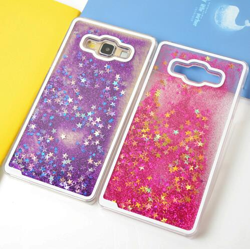 Fluorescent Dynamic Star Bling Glitter Water Liquid Case Plastic Cover for Samsung Galaxy Core Prime Duos G360 Prevail LTE G361H(China (Mainland))