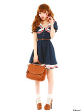 Cosplay Costume Japanese School Uniform Navy Sailor Dress Stripe Bow  Anime Girl Lady Lolita Cartoon Character Costumes Gown(China (Mainland))