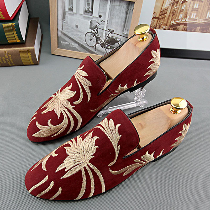 2016 New Spring Autumn Men Velevet Loafers Party Wedding Shoes Europe Style Embroidered Velvet Slippers Driving Moccasins 3#(China (Mainland))