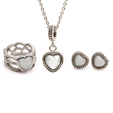 fashion stainless steel opal heart jewelry sets necklace earrings ring for women size 6 7 8 9(China (Mainland))