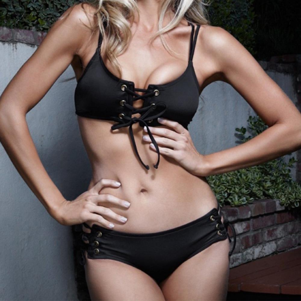 Hot! 2016 Sexy Black Halter Hollow Out Bikinis Set Women Two Pieces Swimsuit Bandage Swimwear Party Swim Suit Beach Wear(China (Mainland))