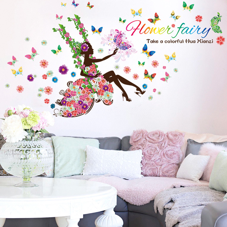 DIY Wall Sticker Butterfly Wall Decals Flower Fairy Swing Girls Poster Stickers for Home Decor Decoration(China (Mainland))
