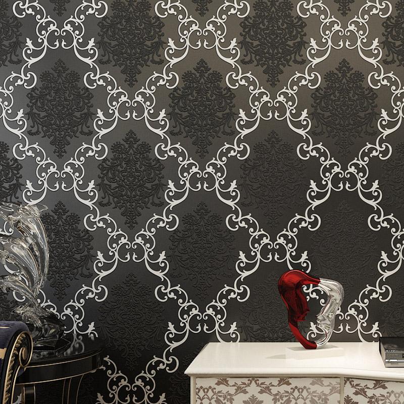 Modern damask 3d wallpaper black and gold wall paper mural for Black and gold wallpaper for walls